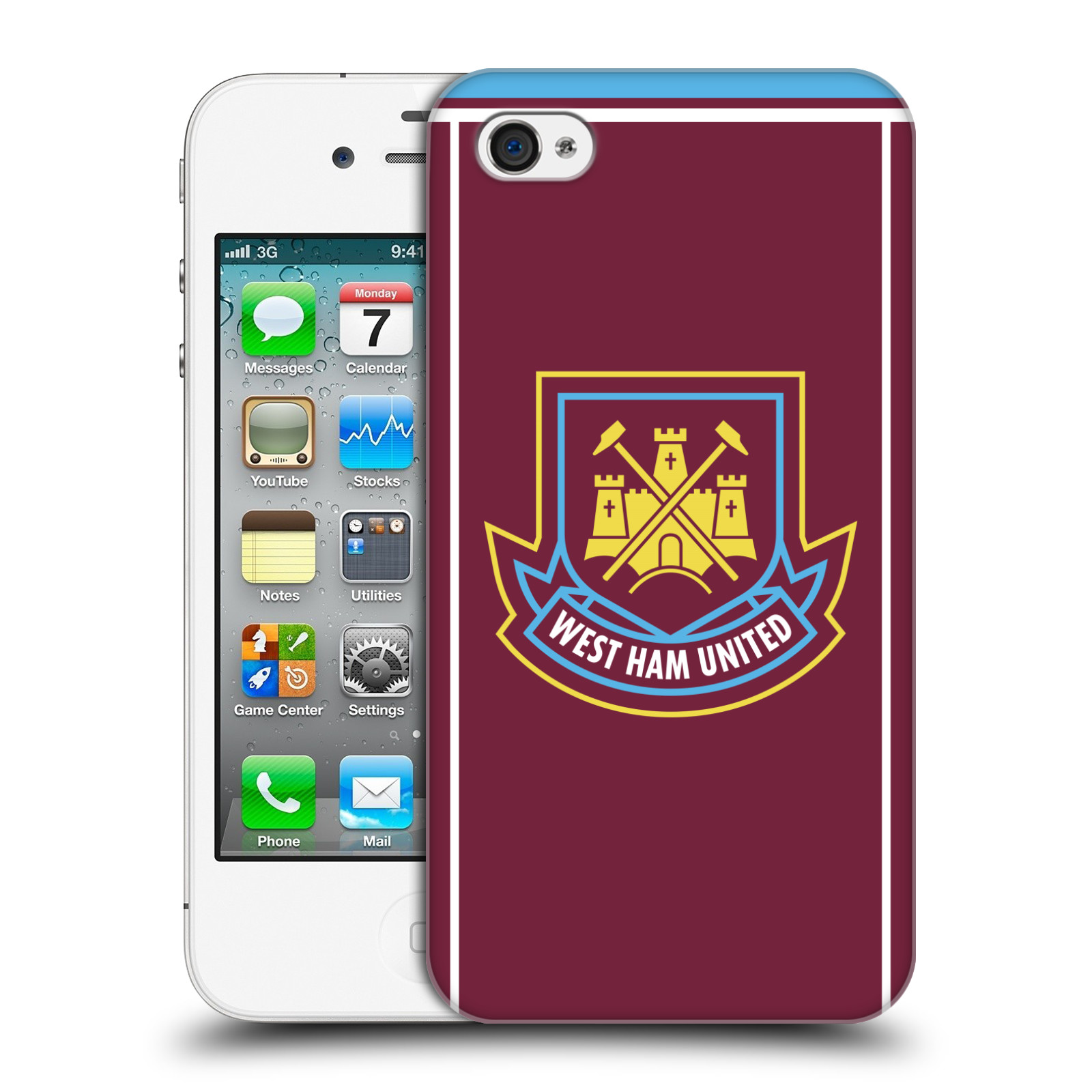 Plastové pouzdro na mobil Apple iPhone 4 a 4S - Head Case - West Ham United - Retro znak (Plastový kryt či obal na mobilní telefon s motivem West Ham United - Kladiváři - Retro znak pro Apple iPhone 4 a 4S)
