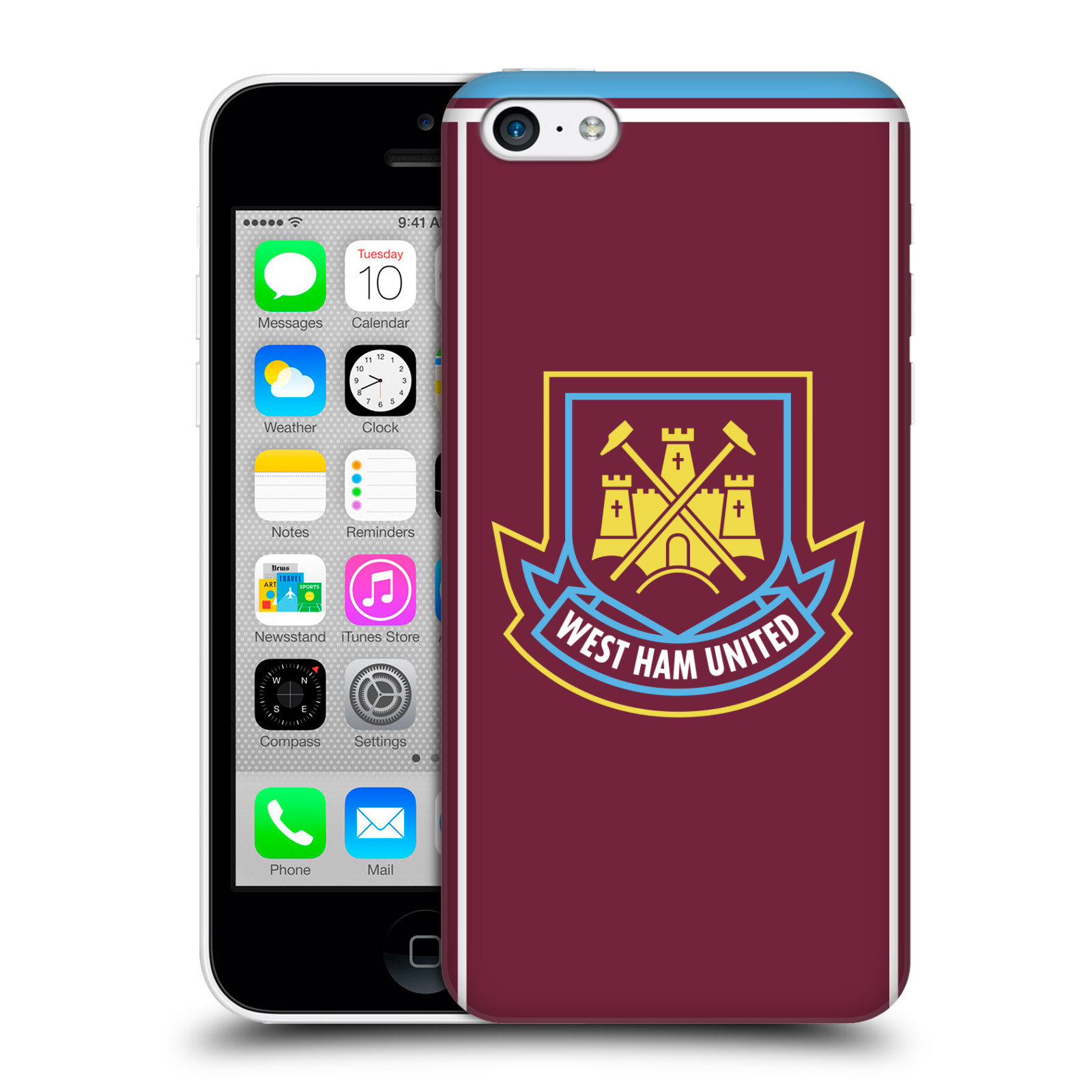 Plastové pouzdro na mobil Apple iPhone 5C - Head Case - West Ham United - Retro znak (Plastový kryt či obal na mobilní telefon s motivem West Ham United - Kladiváři - Retro znak pro Apple iPhone 5C)