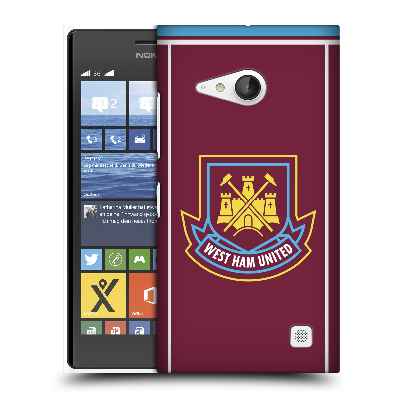 Plastové pouzdro na mobil Nokia Lumia 730 Dual SIM - Head Case - West Ham United - Retro znak (Plastový kryt či obal na mobilní telefon s motivem West Ham United - Kladiváři - Retro znak pro Nokia Lumia 730 Dual SIM)