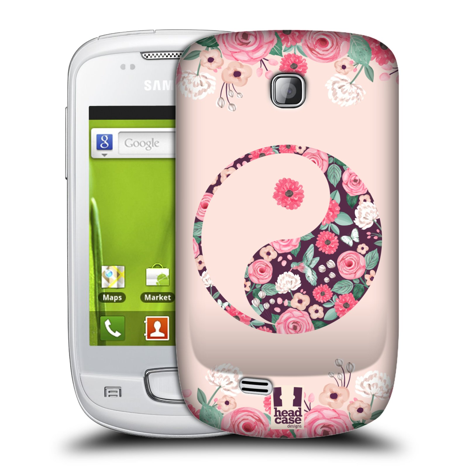 Plastové pouzdro na mobil Samsung Galaxy Mini HEAD CASE Yin a Yang Floral (Kryt či obal na mobilní telefon Samsung Galaxy Mini GT-S5570 / GT-S5570i)