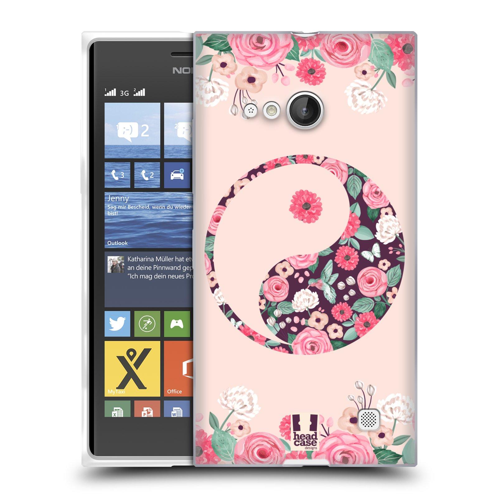 Silikonové pouzdro na mobil Nokia Lumia 730 Dual SIM HEAD CASE Yin a Yang Floral (Silikonový kryt či obal na mobilní telefon Nokia Lumia 730 Dual SIM)