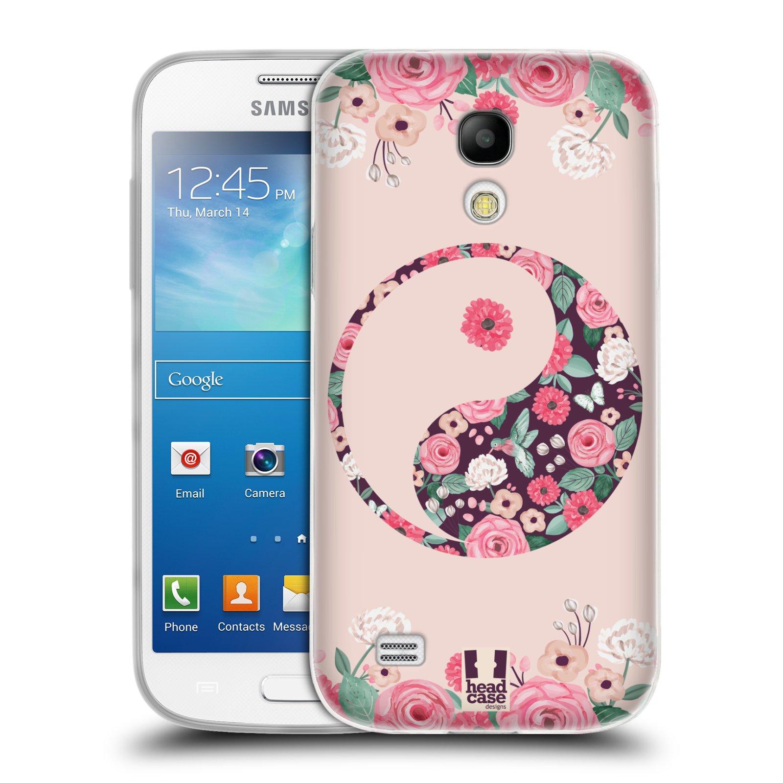 Silikonové pouzdro na mobil Samsung Galaxy S4 Mini HEAD CASE Yin a Yang Floral (Silikonový kryt či obal na mobilní telefon Samsung Galaxy S4 Mini GT-i9195 / i9190 (nepasuje na verzi Black Edition))