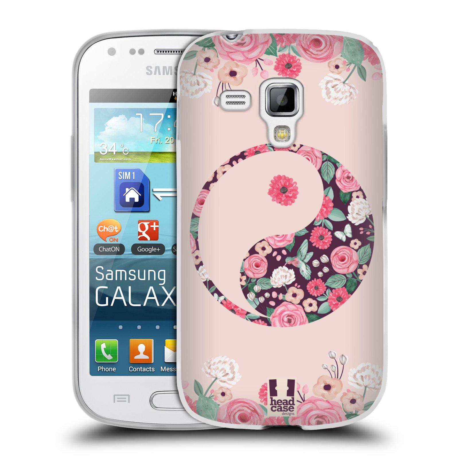 Silikonové pouzdro na mobil Samsung Galaxy S Duos HEAD CASE Yin a Yang Floral (Silikonový kryt či obal na mobilní telefon Samsung Galaxy S Duos GT-S7562)