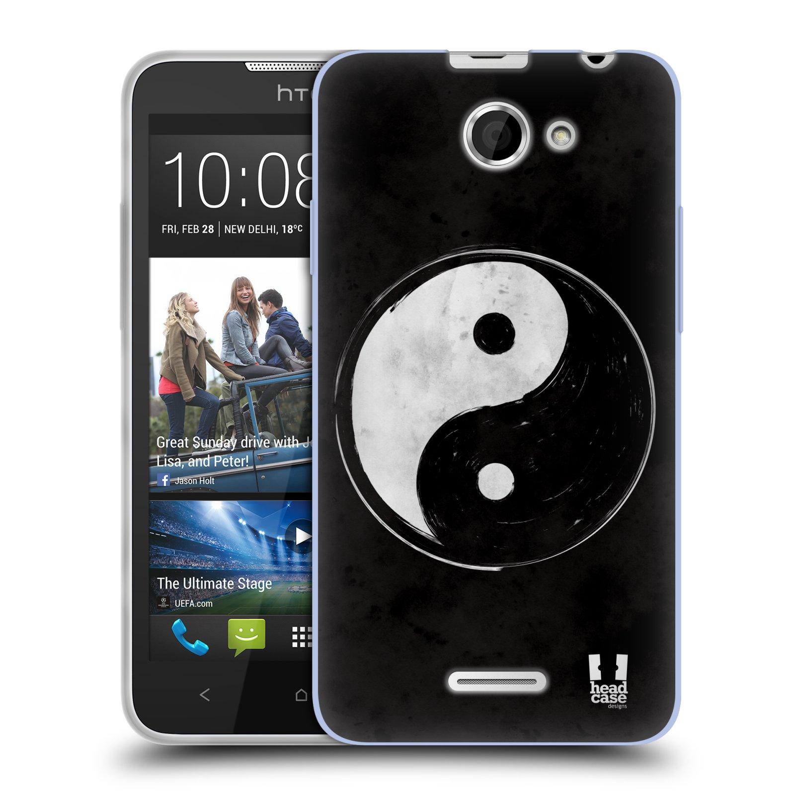 Silikonové pouzdro na mobil HTC Desire 516 HEAD CASE YIn a Yang BW (Silikonový kryt či obal na mobilní telefon HTC Desire 516 Dual SIM)