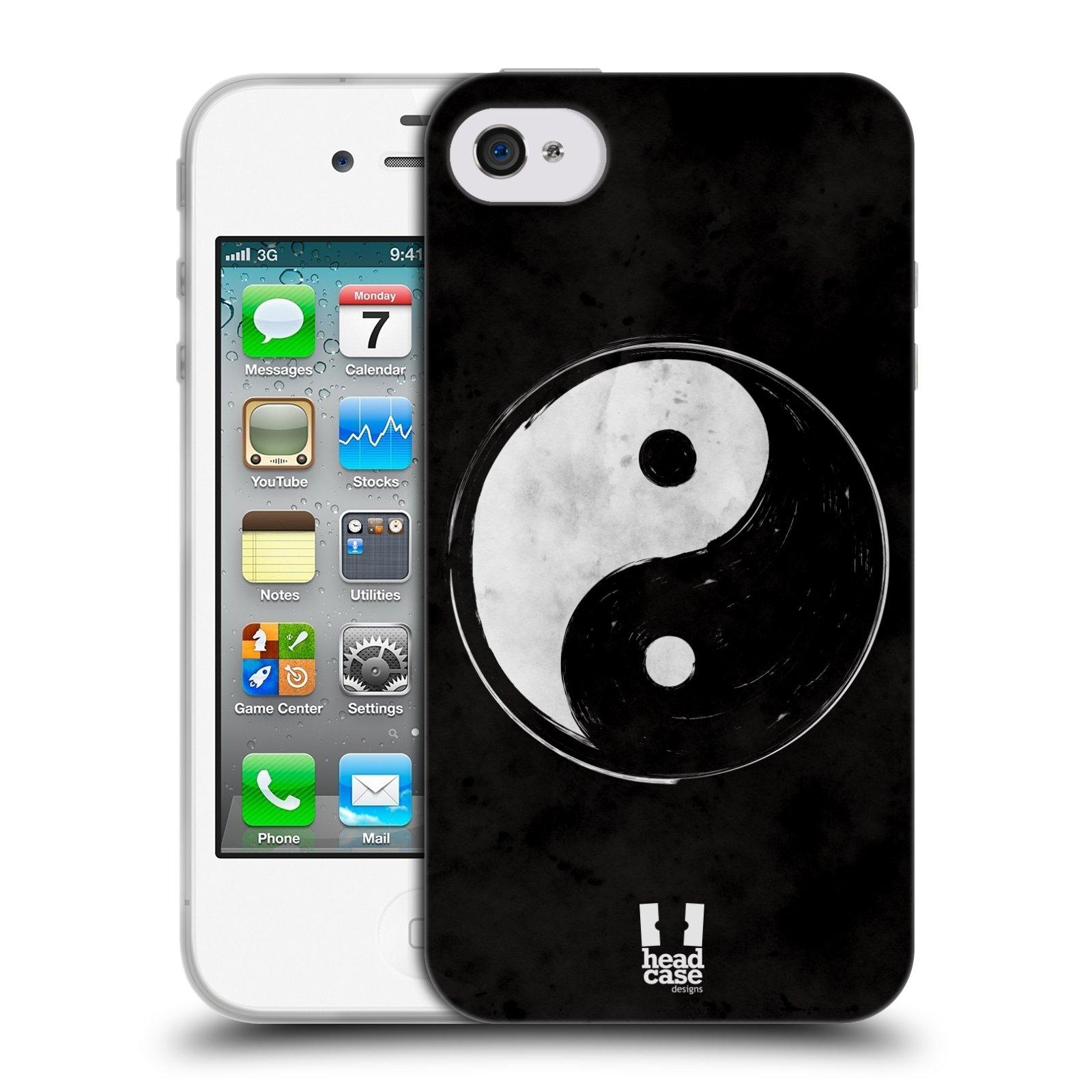Silikonové pouzdro na mobil Apple iPhone 4 a 4S HEAD CASE YIn a Yang BW (Silikonový kryt či obal na mobilní telefon Apple iPhone 4 a 4S)