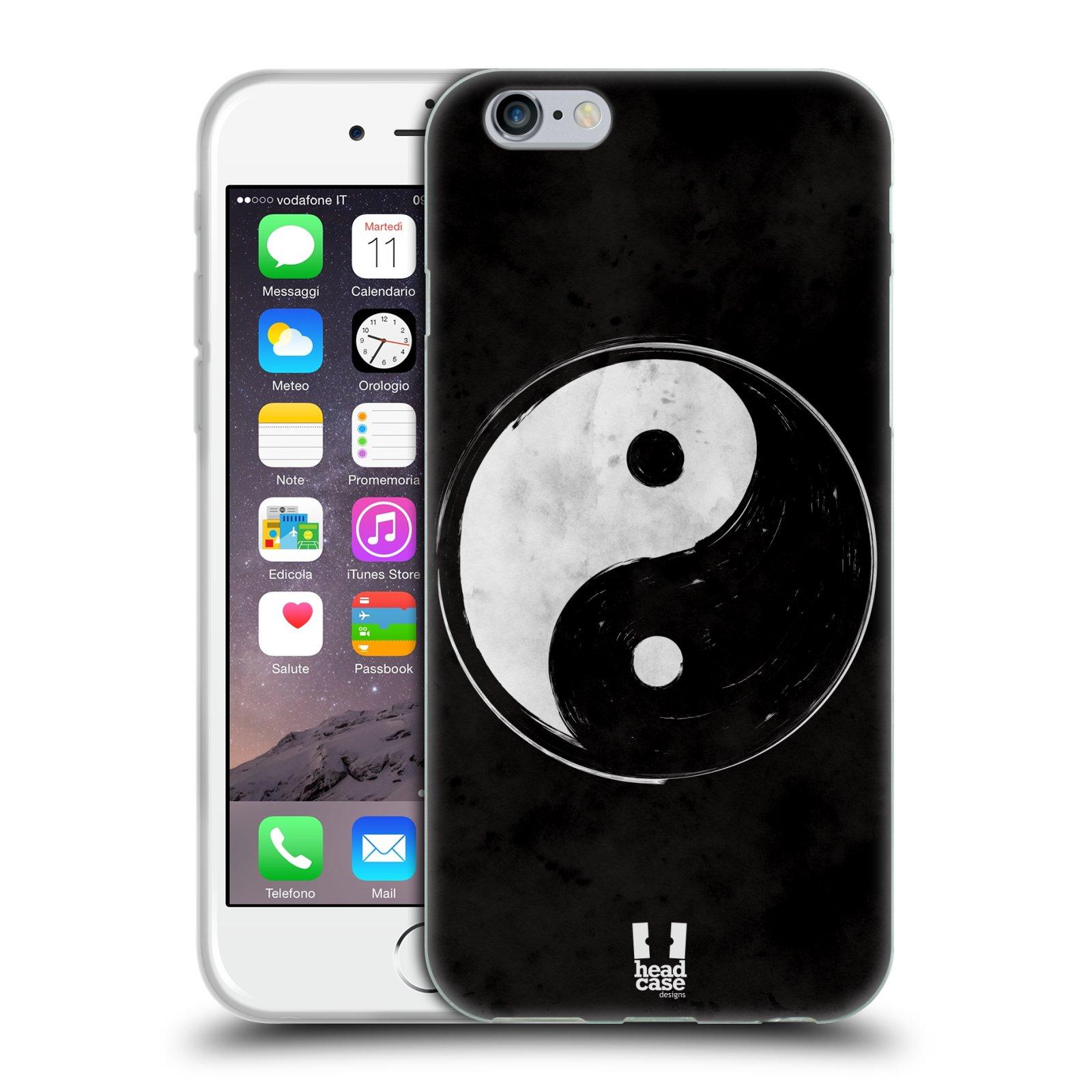 Silikonové pouzdro na mobil Apple iPhone 6 a 6S HEAD CASE YIn a Yang  BW
