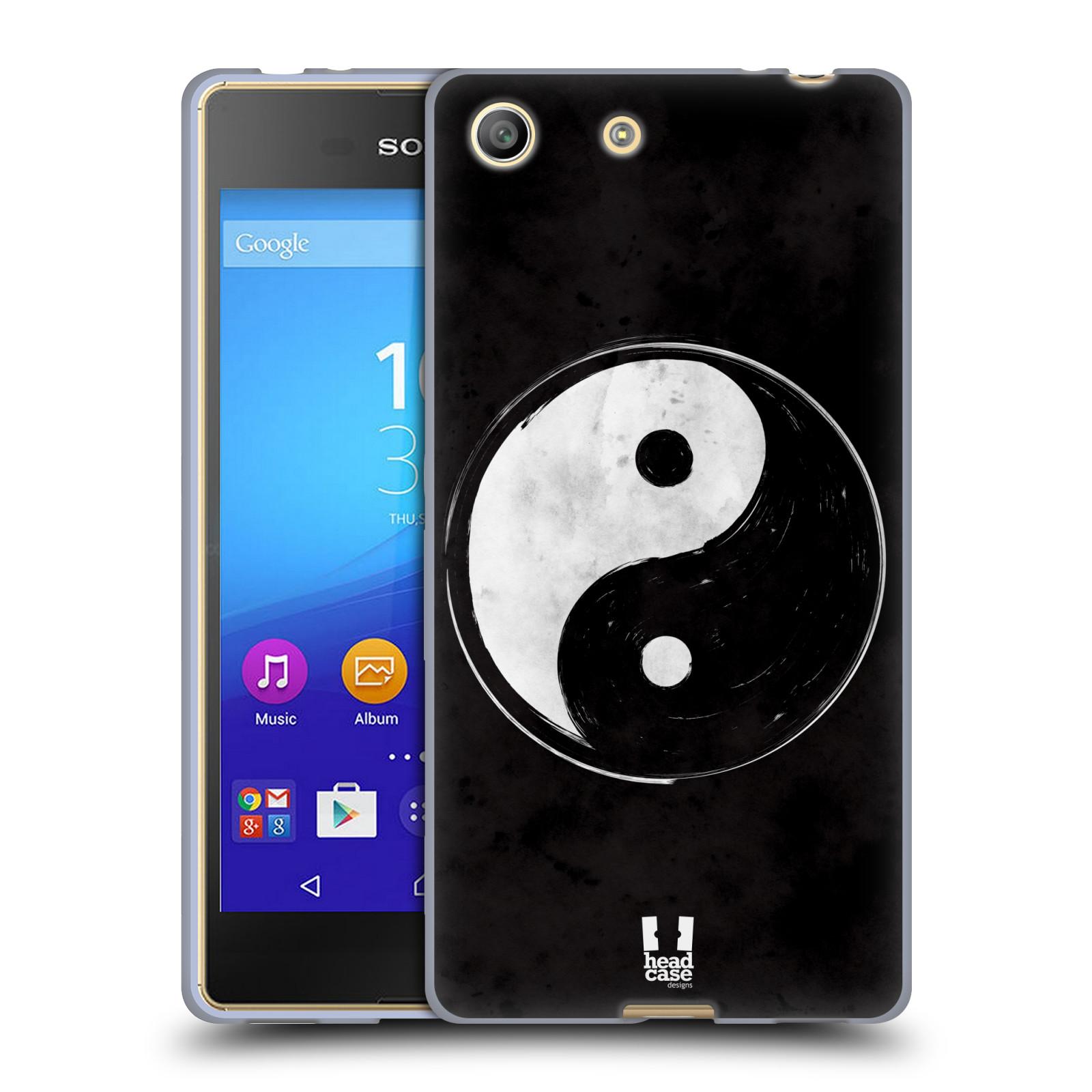 Silikonové pouzdro na mobil Sony Xperia M5 HEAD CASE YIn a Yang BW (Silikonový kryt či obal na mobilní telefon Sony Xperia M5 Dual SIM / Aqua)