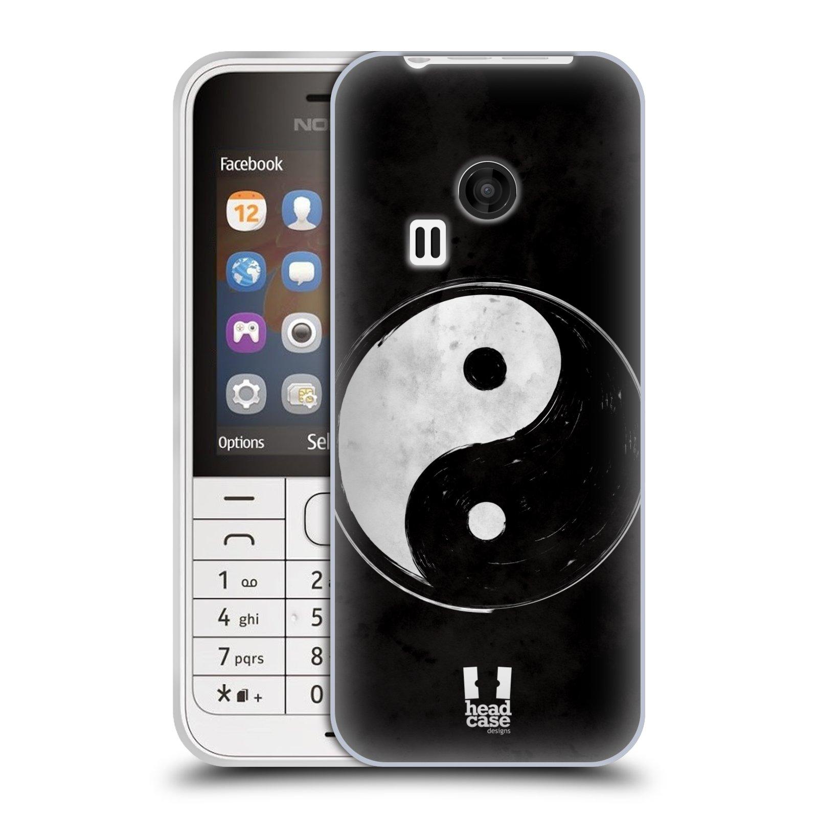 Silikonové pouzdro na mobil Nokia 220 HEAD CASE YIn a Yang BW (Silikonový kryt či obal na mobilní telefon Nokia 220 a 220 Dual SIM)
