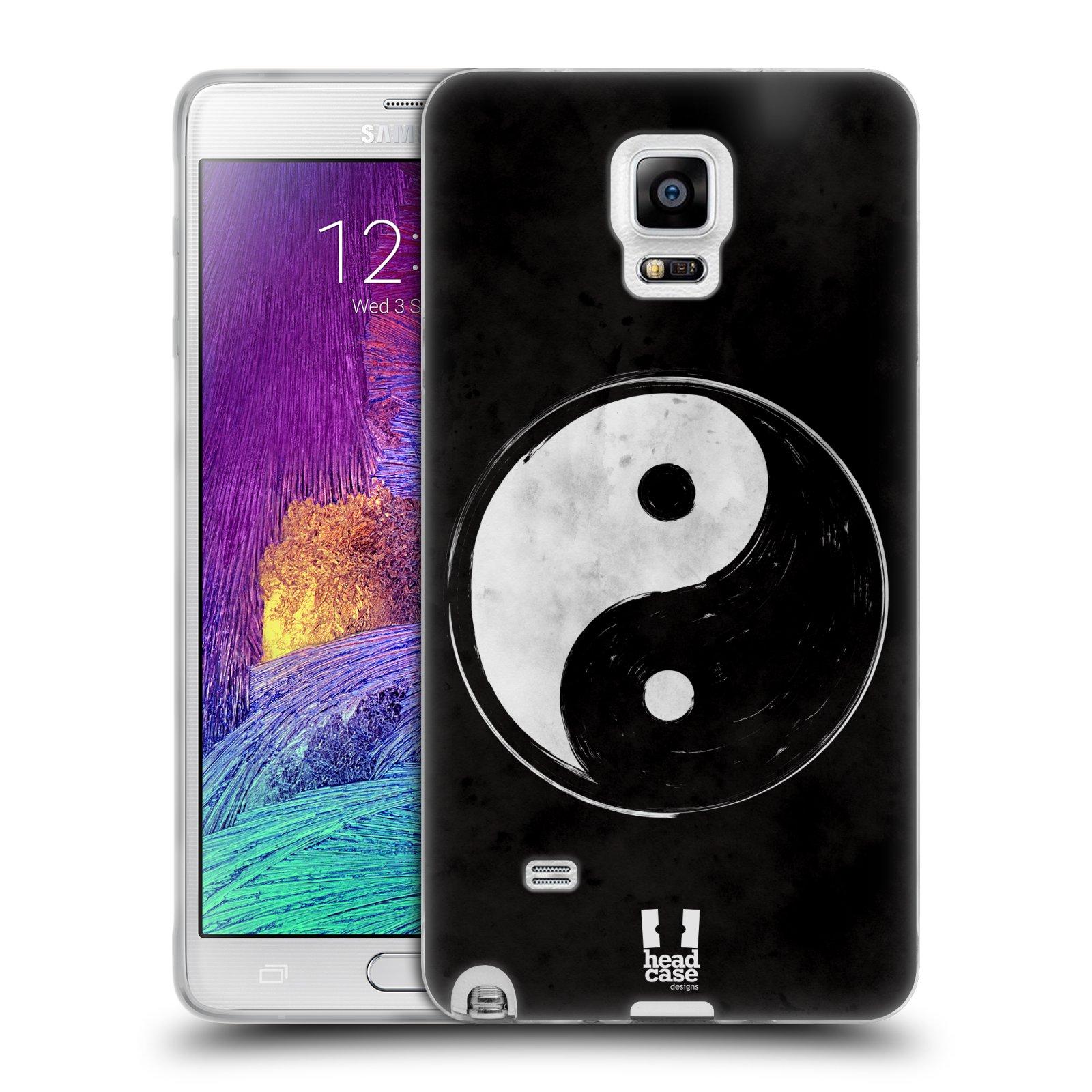 Silikonové pouzdro na mobil Samsung Galaxy Note 4 HEAD CASE YIn a Yang BW (Silikonový kryt či obal na mobilní telefon Samsung Galaxy Note 4 SM-N910F)