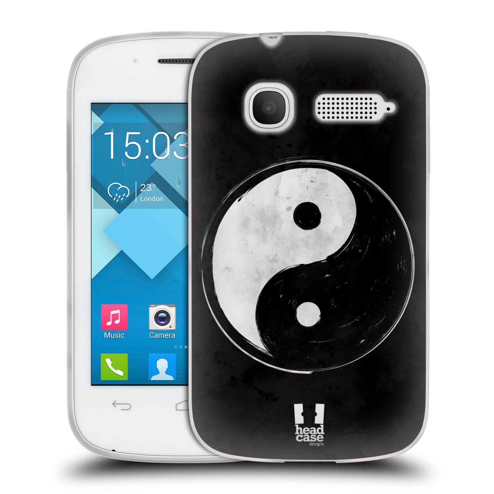 Silikonové pouzdro na mobil Alcatel One Touch Pop C1 HEAD CASE YIn a Yang BW (Silikonový kryt či obal na mobilní telefon Alcatel OT-4015D POP C1)