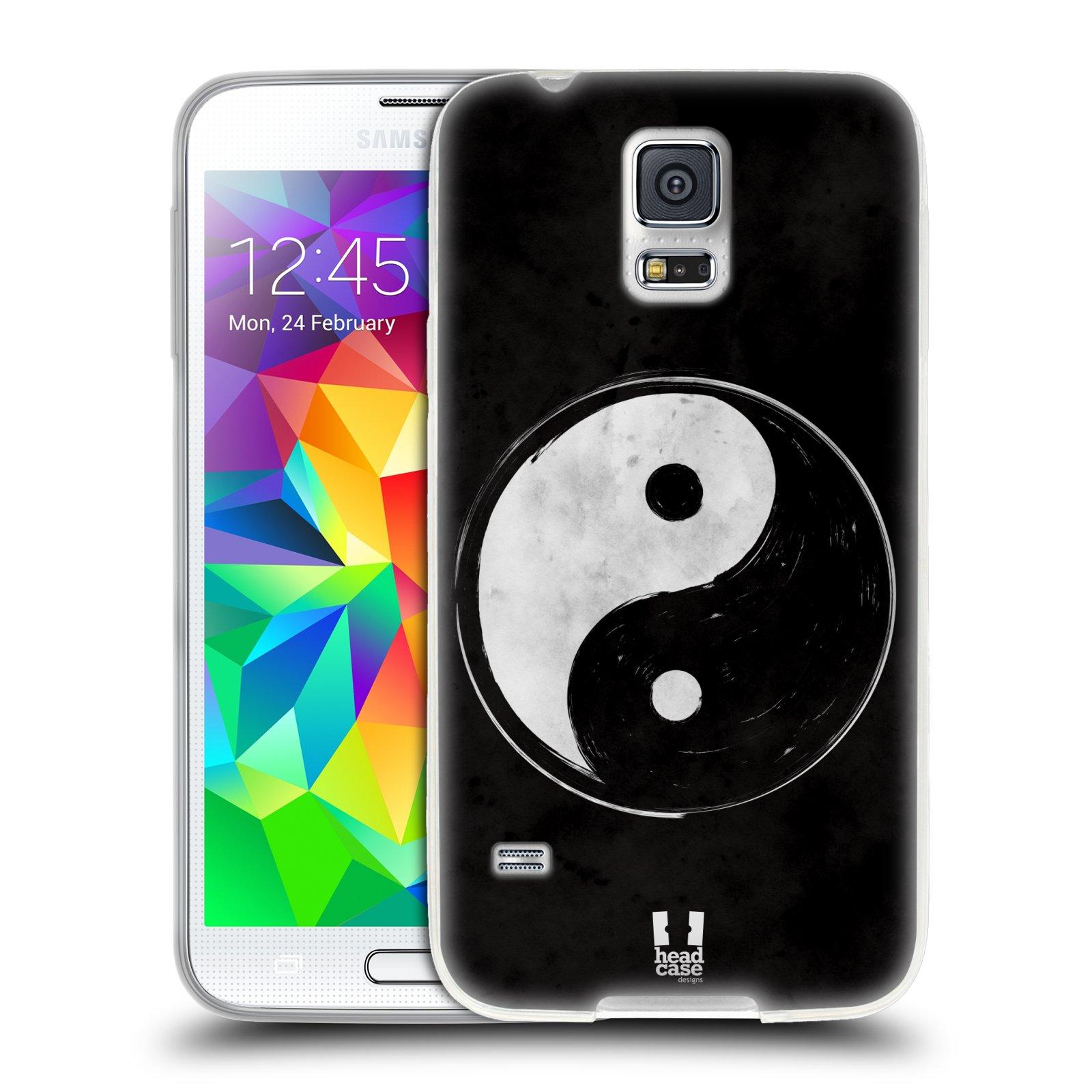 Silikonové pouzdro na mobil Samsung Galaxy S5 HEAD CASE YIn a Yang BW (Silikonový kryt či obal na mobilní telefon Samsung Galaxy S5 SM-G900F)