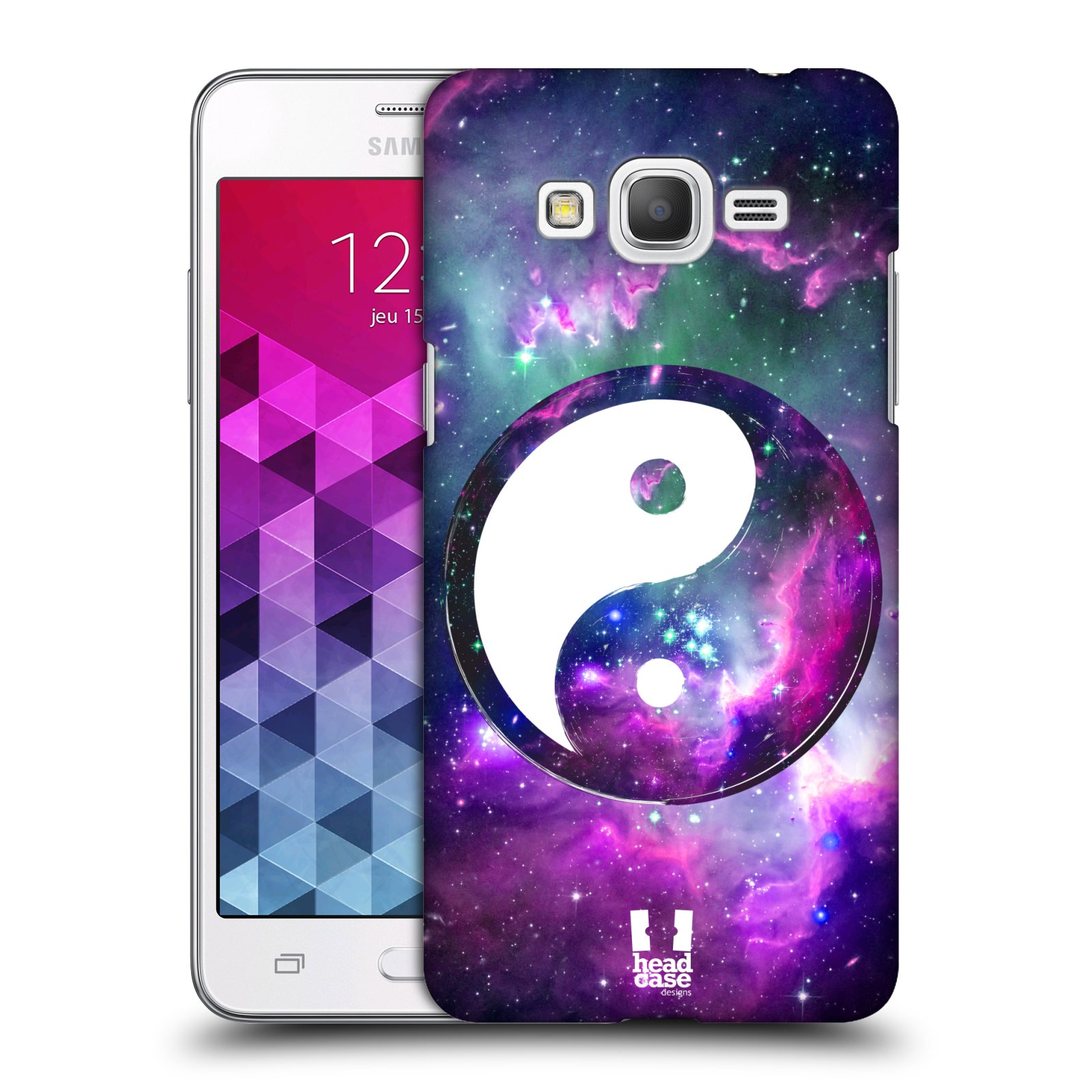 Plastové pouzdro na mobil Samsung Galaxy Grand Prime HEAD CASE Yin a Yang PURPLE (Kryt či obal na mobilní telefon Samsung Galaxy Grand Prime SM-G530)