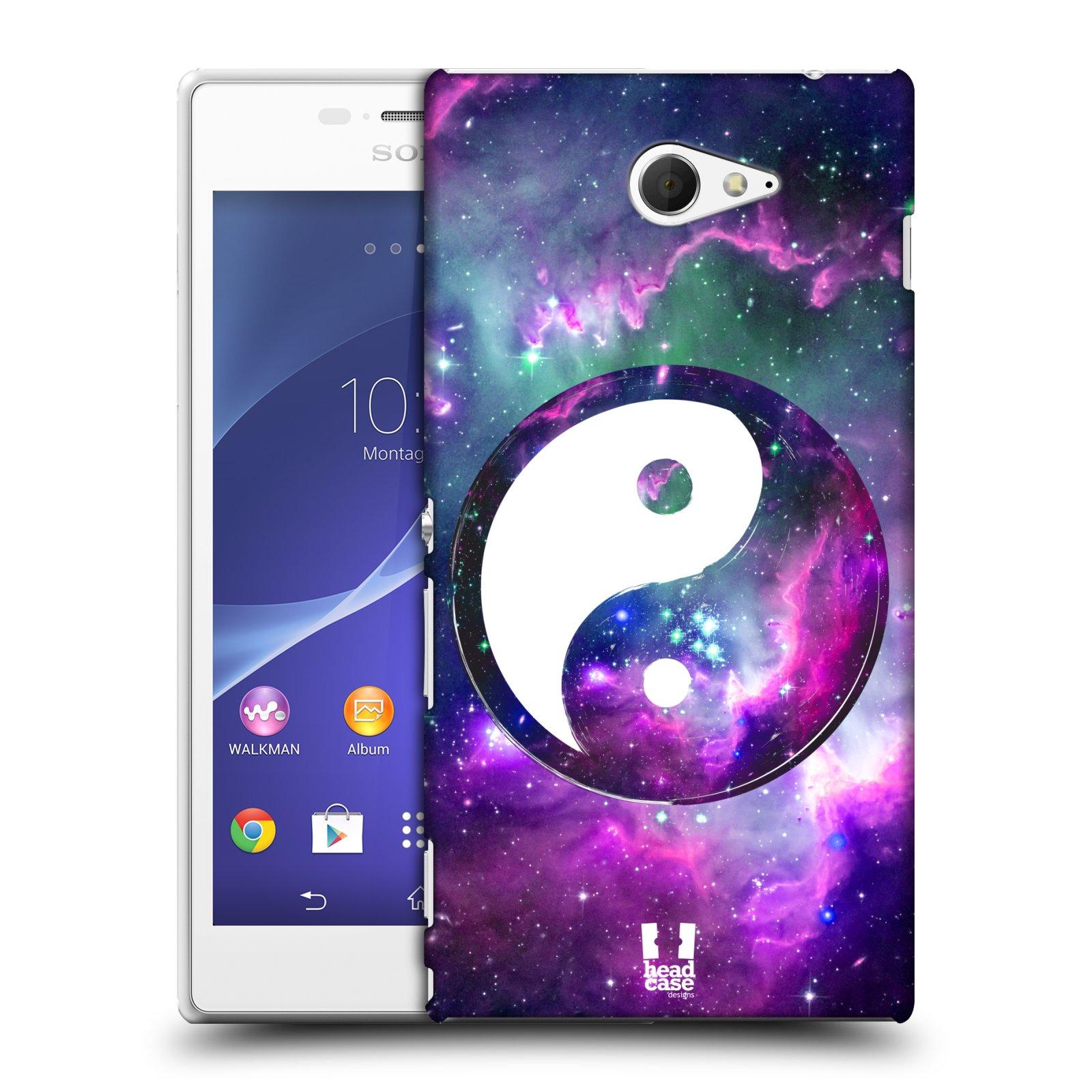 Plastové pouzdro na mobil Sony Xperia M2 D2303 HEAD CASE Yin a Yang PURPLE (Kryt či obal na mobilní telefon Sony Xperia M2 )