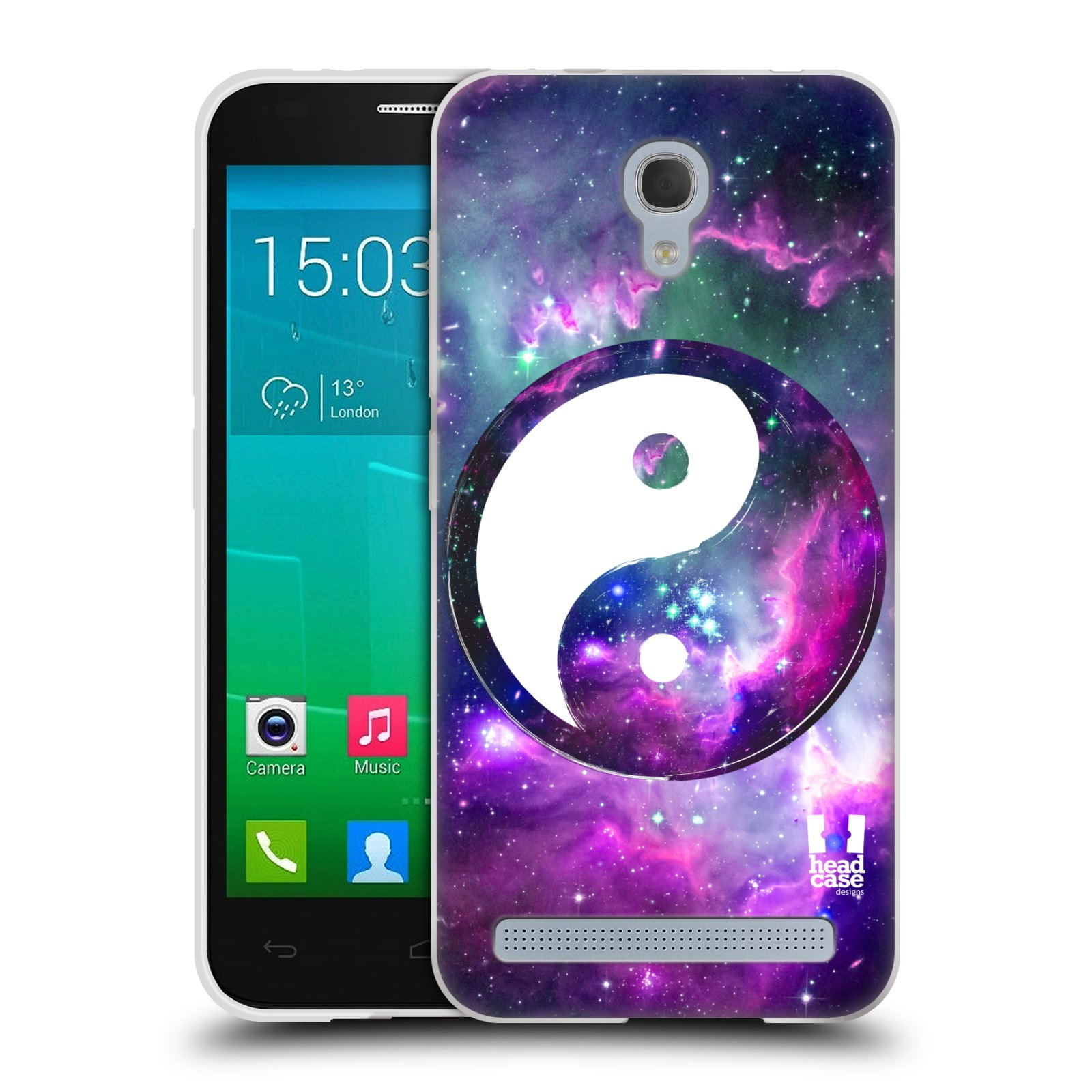 Silikonové pouzdro na mobil Alcatel One Touch Idol 2 Mini S 6036Y HEAD CASE YIn a Yang PURPLE (Silikonový kryt či obal na mobilní telefon Alcatel Idol 2 Mini S OT-6036Y)