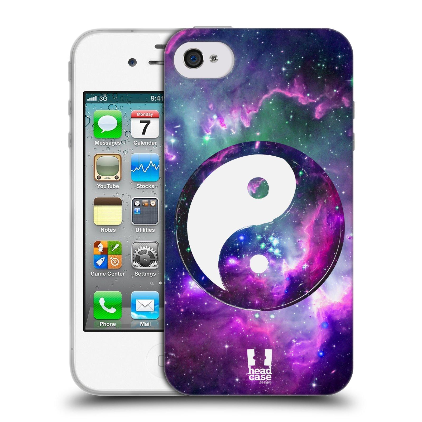 Silikonové pouzdro na mobil Apple iPhone 4 a 4S HEAD CASE YIn a Yang PURPLE (Silikonový kryt či obal na mobilní telefon Apple iPhone 4 a 4S)