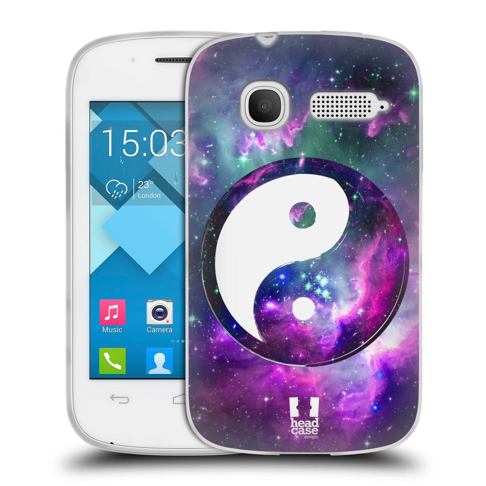 Silikonové pouzdro na mobil Alcatel One Touch Pop C1 HEAD CASE YIn a Yang PURPLE (Silikonový kryt či obal na mobilní telefon Alcatel OT-4015D POP C1)