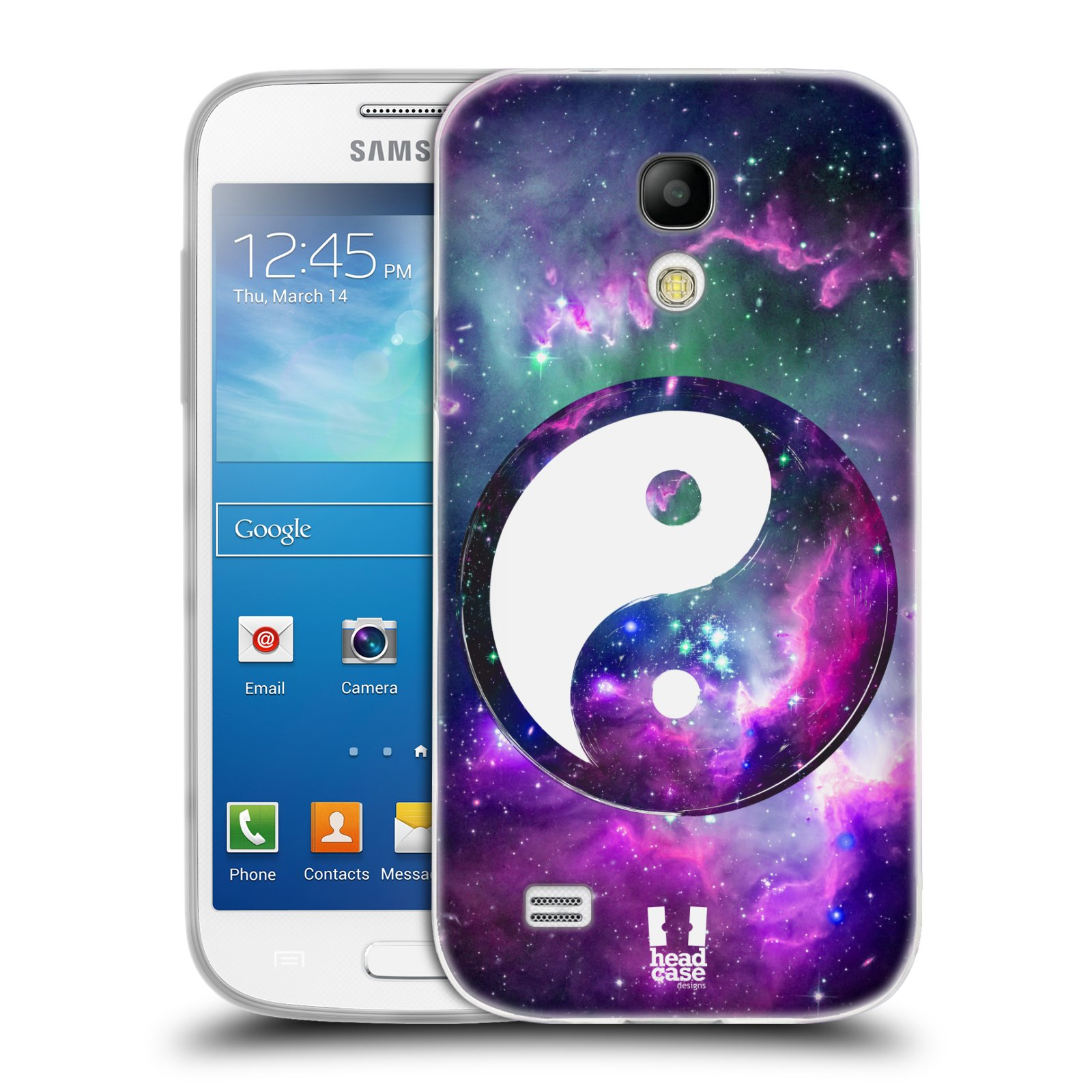 Silikonové pouzdro na mobil Samsung Galaxy S4 Mini HEAD CASE YIn a Yang PURPLE (Silikonový kryt či obal na mobilní telefon Samsung Galaxy S4 Mini GT-i9195 / i9190 (nepasuje na verzi Black Edition))