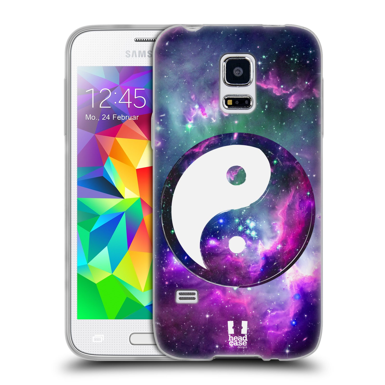 Silikonové pouzdro na mobil Samsung Galaxy S5 Mini HEAD CASE YIn a Yang PURPLE (Silikonový kryt či obal na mobilní telefon Samsung Galaxy S5 Mini SM-G800F)