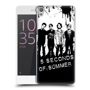 Plastové pouzdro na mobil Sony Xperia E5 HEAD CASE 5 Seconds of Summer - Band Black and White