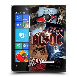 Plastové pouzdro na mobil Microsoft Lumia 435 HEAD CASE AC/DC Koláž desek