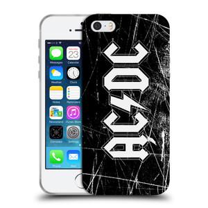 Silikonové pouzdro na mobil Apple iPhone SE, 5 a 5S HEAD CASE AC/DC Černobílé logo