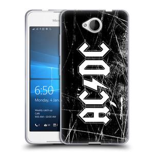 Silikonové pouzdro na mobil Microsoft Lumia 650 HEAD CASE AC/DC Černobílé logo