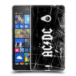 Silikonové pouzdro na mobil Microsoft Lumia 535 HEAD CASE AC/DC Černobílé logo