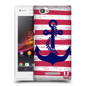Plastové pouzdro na mobil Sony Xperia M C1905 HEAD CASE KOTVA S PRUHY