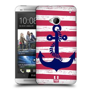 Plastové pouzdro na mobil HTC ONE M7 HEAD CASE KOTVA S PRUHY