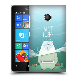 Plastové pouzdro na mobil Microsoft Lumia 435 HEAD CASE Medvěd Whut Fish?