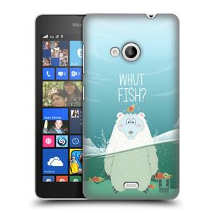 Plastové pouzdro na mobil Microsoft Lumia 535 HEAD CASE Medvěd Whut Fish?