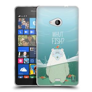 Silikonové pouzdro na mobil Microsoft Lumia 535 HEAD CASE Medvěd Whut Fish?