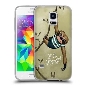 Silikonové pouzdro na mobil Samsung Galaxy S5 Mini HEAD CASE Lenochod Just Hangin