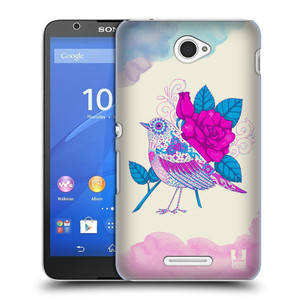Plastové pouzdro na mobil Sony Xperia E4 E2105 HEAD CASE PTÁČEK FUCHSIA