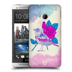 Plastové pouzdro na mobil HTC ONE M7 HEAD CASE PTÁČEK FUCHSIA