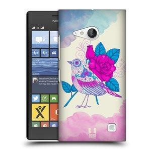 Plastové pouzdro na mobil Nokia Lumia 735 HEAD CASE PTÁČEK FUCHSIA