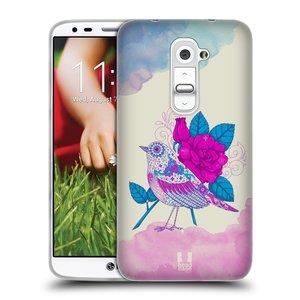 Silikonové pouzdro na mobil LG G2 HEAD CASE PTÁČEK FUCHSIA
