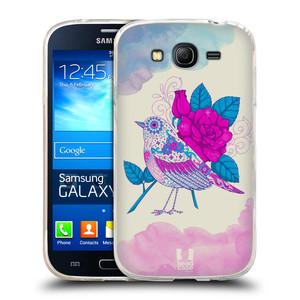 Silikonové pouzdro na mobil Samsung Galaxy Grand Neo Plus HEAD CASE PTÁČEK FUCHSIA