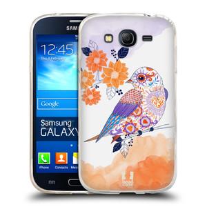 Silikonové pouzdro na mobil Samsung Galaxy Grand Neo Plus HEAD CASE PTÁČEK TANGERINE