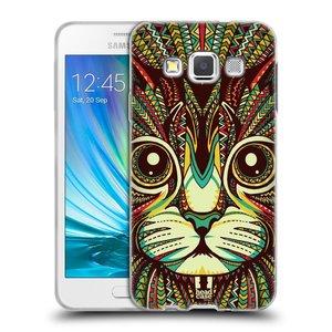 Silikonové pouzdro na mobil Samsung Galaxy A3 HEAD CASE AZTEC KOČKA