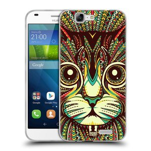 Silikonové pouzdro na mobil Huawei Ascend G7 HEAD CASE AZTEC KOČKA