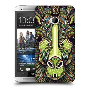 Plastové pouzdro na mobil HTC ONE M7 HEAD CASE AZTEC ŽIRAFA