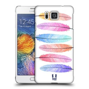 Plastové pouzdro na mobil Samsung Galaxy Alpha HEAD CASE AZTEC PÍRKA SILUETY