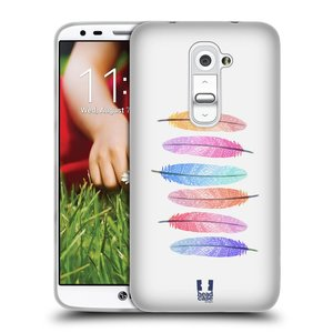 Silikonové pouzdro na mobil LG G2 HEAD CASE AZTEC PÍRKA SILUETY