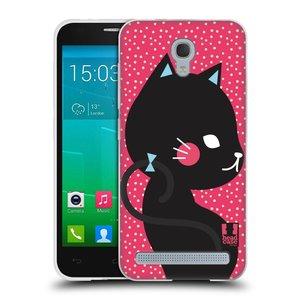 Silikonové pouzdro na mobil Alcatel One Touch Idol 2 Mini S 6036Y HEAD CASE KOČIČKA ČERNÁ NA RŮŽOVÉ