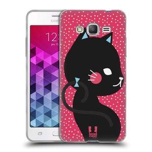 Silikonové pouzdro na mobil Samsung Galaxy Grand Prime VE HEAD CASE KOČIČKA ČERNÁ NA RŮŽOVÉ