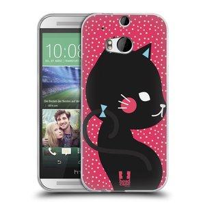 Silikonové pouzdro na mobil HTC ONE M8 HEAD CASE KOČIČKA ČERNÁ NA RŮŽOVÉ