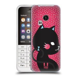 Silikonové pouzdro na mobil Nokia 220 HEAD CASE KOČIČKA ČERNÁ NA RŮŽOVÉ