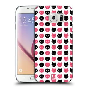 Plastové pouzdro na mobil Samsung Galaxy S6 HEAD CASE KOČKY Black and Pink