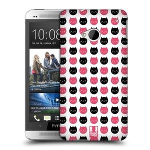 Plastové pouzdro na mobil HTC ONE M7 HEAD CASE KOČKY Black and Pink